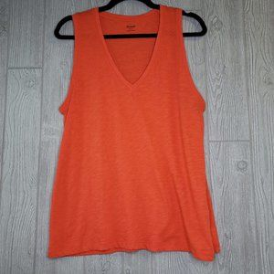 Madewell V Neck Muscle Tank Womens Large LG Red